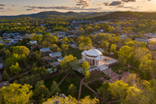 Aerial view of UVA Grounds at sunset