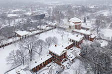 Aerial view of the Lawn covered in snow