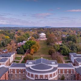 Aerial view of Grounds, from Old Cabell Hall to the Rotunda