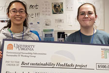 Electrical engineering majors Emily Flynn and Colleen Foley hold an oversized check for 500 dollars, their prize from U.V.A. Sustainable I.T. for best sustainability HooHacks project