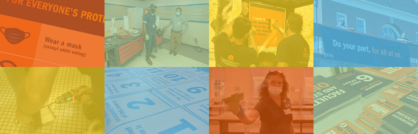 A grid of images portraying Facilities Management employees and signage to reduce COVID risks