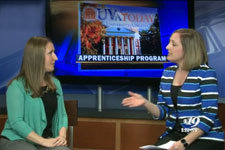 Facilities Management HR specialist Sarah McComb and newscaster discuss apprentice program