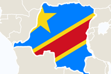Illustrated map of Africa, highlighting the Congo and Congolese flag