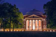 UVA's Rotunda illuminated at night