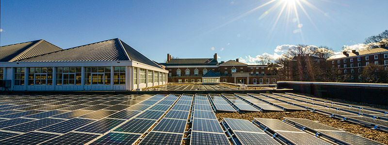 Solar panels installed on the roof of the UVA Bookstore