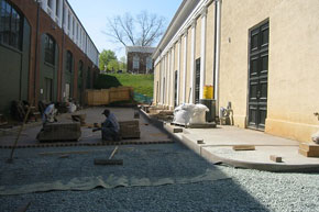 Installation of permeable pavers behind the Amphitheater