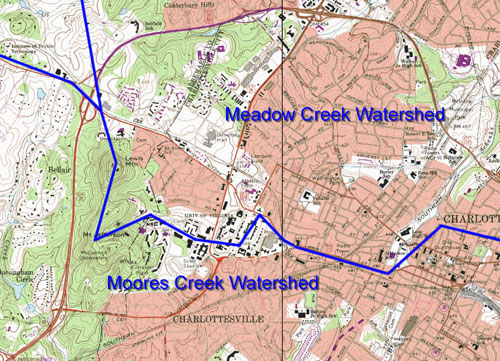 Watershed topographic map