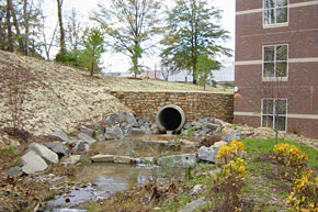 Stormwater pipe on Grounds