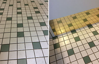 Tile before and after being gleamed